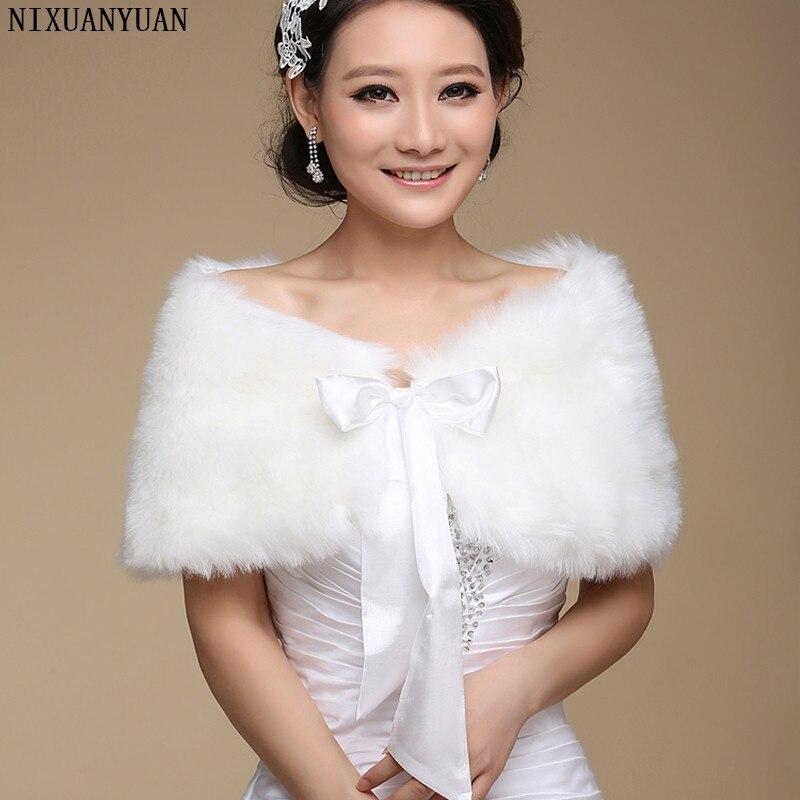 2020 Fur Shawl Wedding Wrap Formal Dress Cheongsam Pregnantwith Married Outerwear Bride Cape Ivory Autumn Winter Jacket