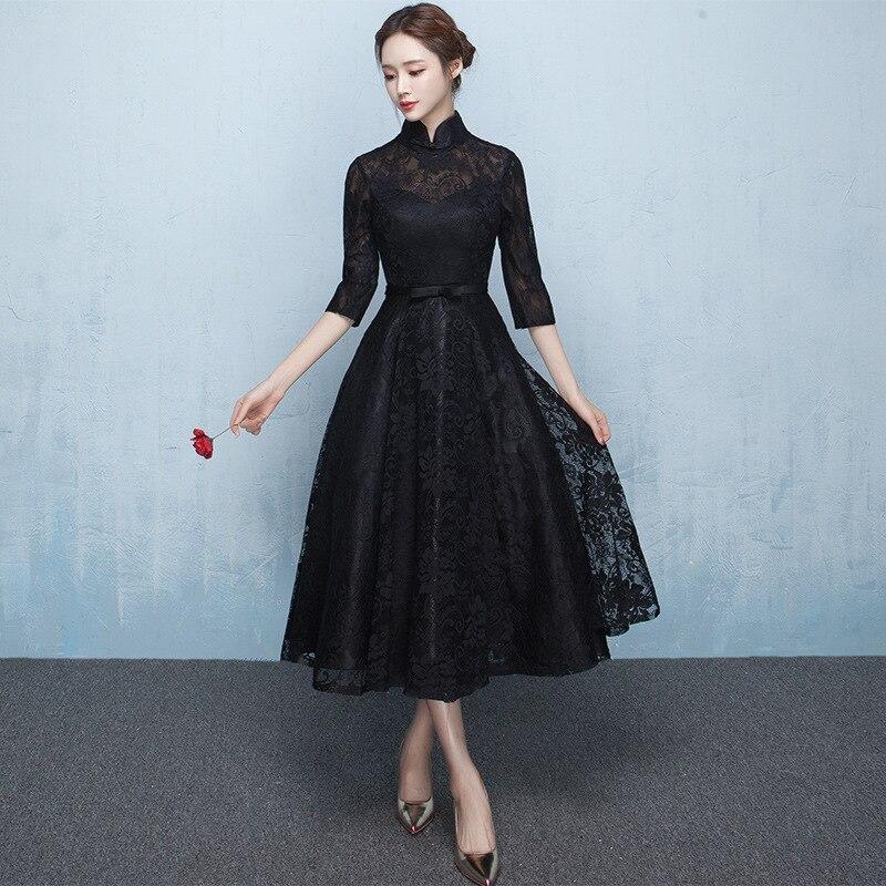 Mid Length Lace Novelty Chinese Traditional Lady Cheongsam Elegant Prom Party Women Dress Mandarin Collar Qipao 3XL Vestidso in Cheongsams from Novelty Special Use