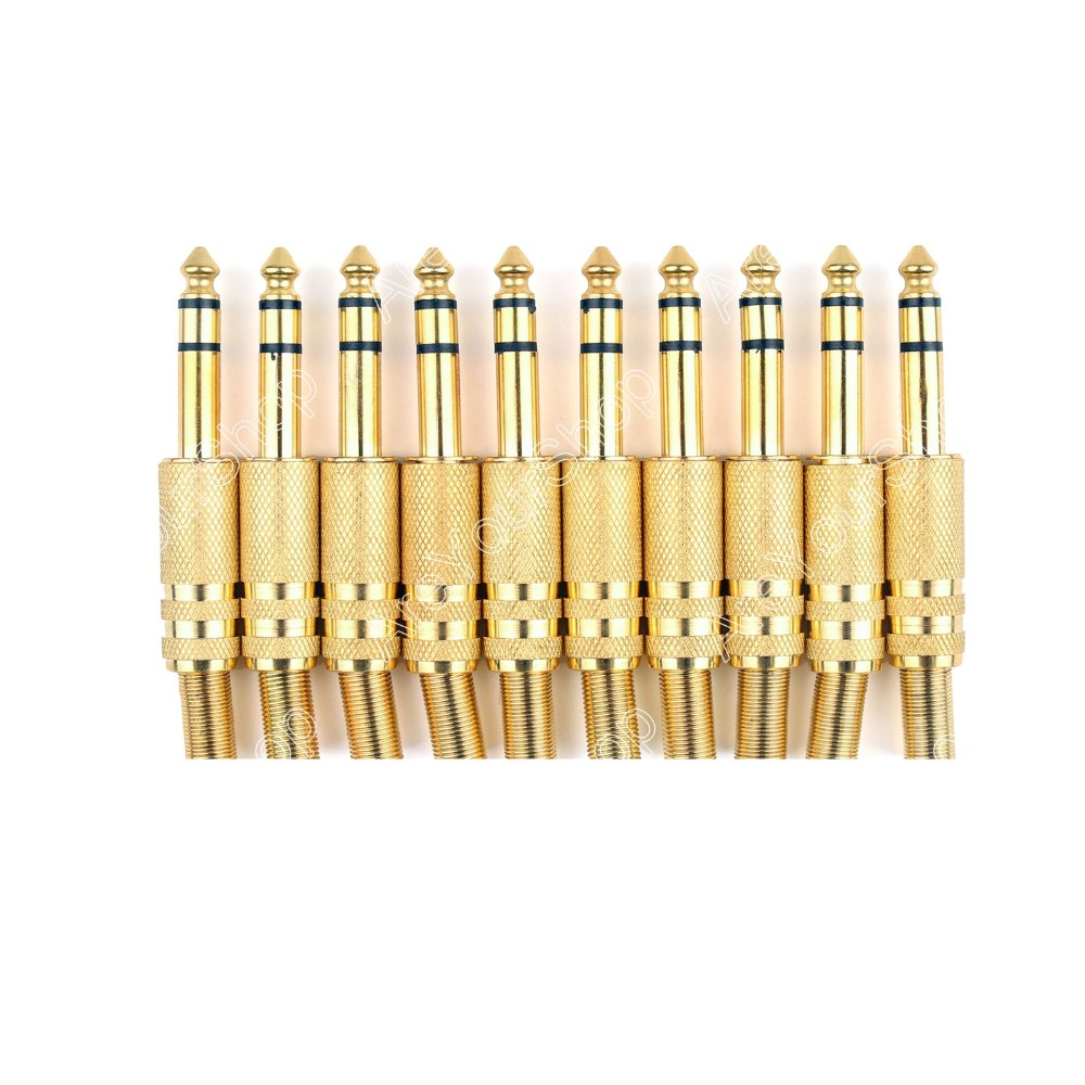 Areyourshop 10 Pcs Metal Gold 6.35mm Male 1/4 Stereo Plug Audio Connector
