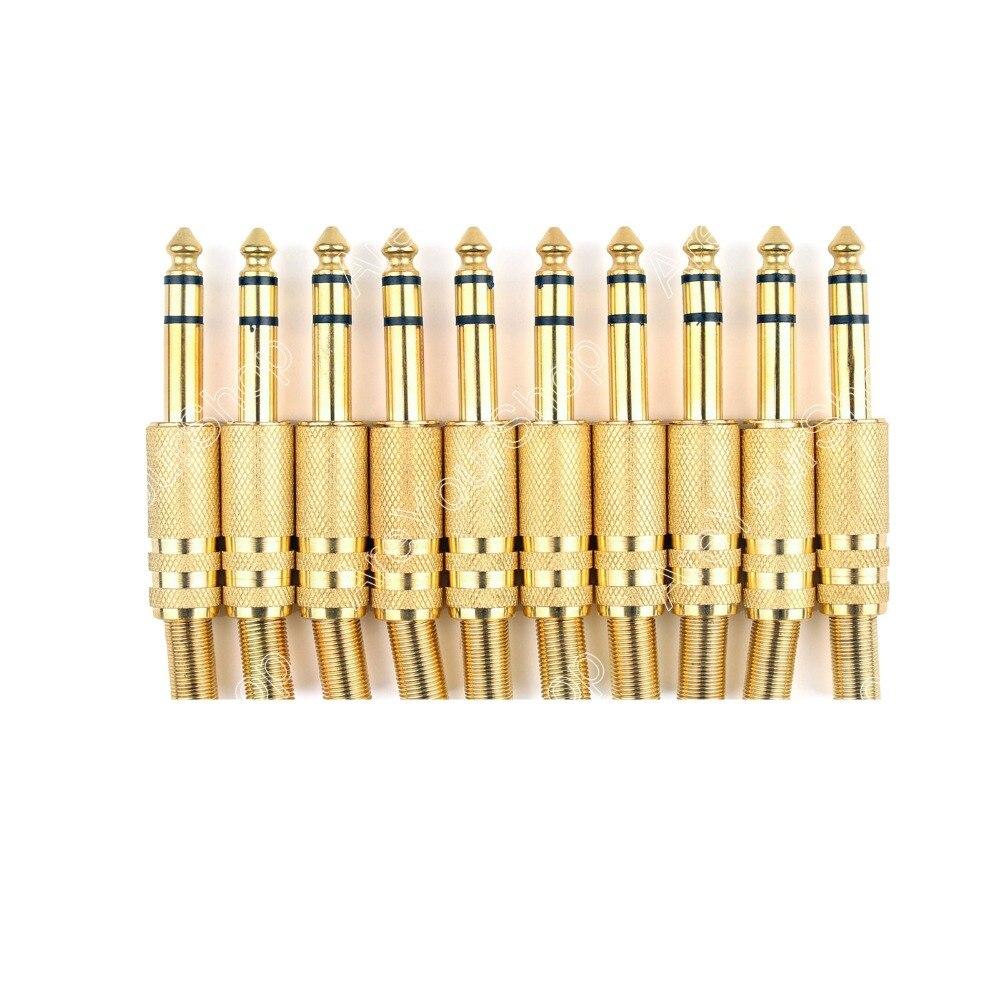 Areyourshop 10 piezas Metal oro 6,35mm macho conector de Audio de 1/4 enchufe ESTÉREO