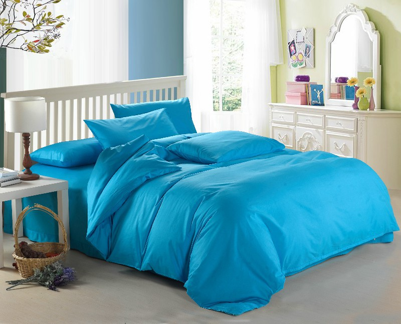 New Lake Blue theme high quality home and hotel bedding set, 2 pillow case, 1 bed sheet and 1 duvet cover bed coverNew Lake Blue theme high quality home and hotel bedding set, 2 pillow case, 1 bed sheet and 1 duvet cover bed cover
