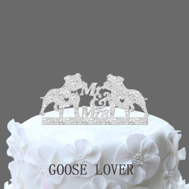 Silhouette Wedding Cake Topper, Pet Silhouette, Mr And Mrs, Pitbull ...