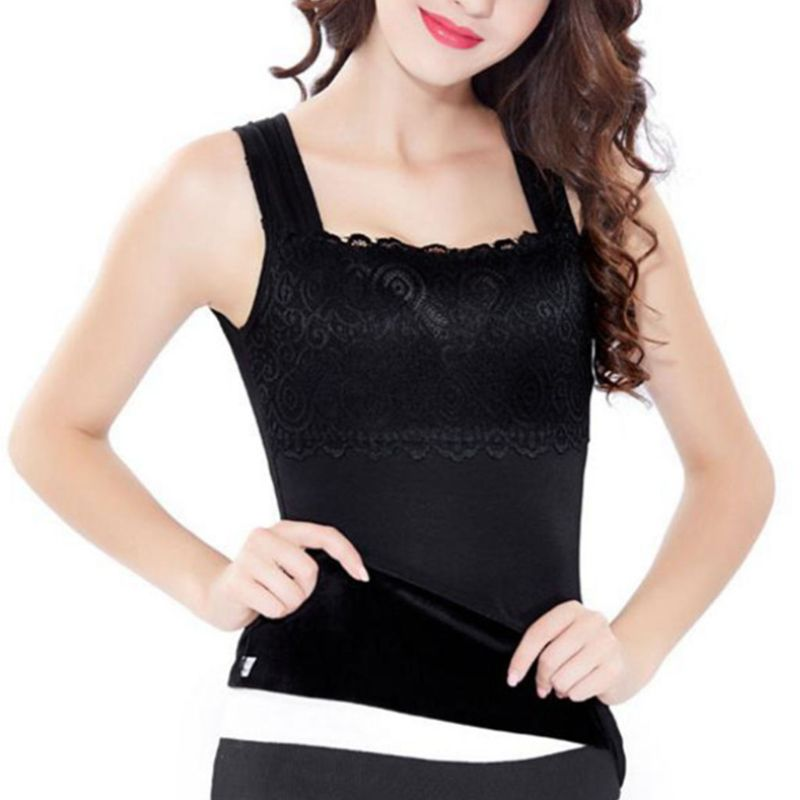 Detail Feedback Questions about Women Winter Warm Thickened Tank Tops  Skinny Thermal Underwear Body Sculpting Vest Floral Lace Patchwork Solid  Basic Shirt ... 26c66a72a