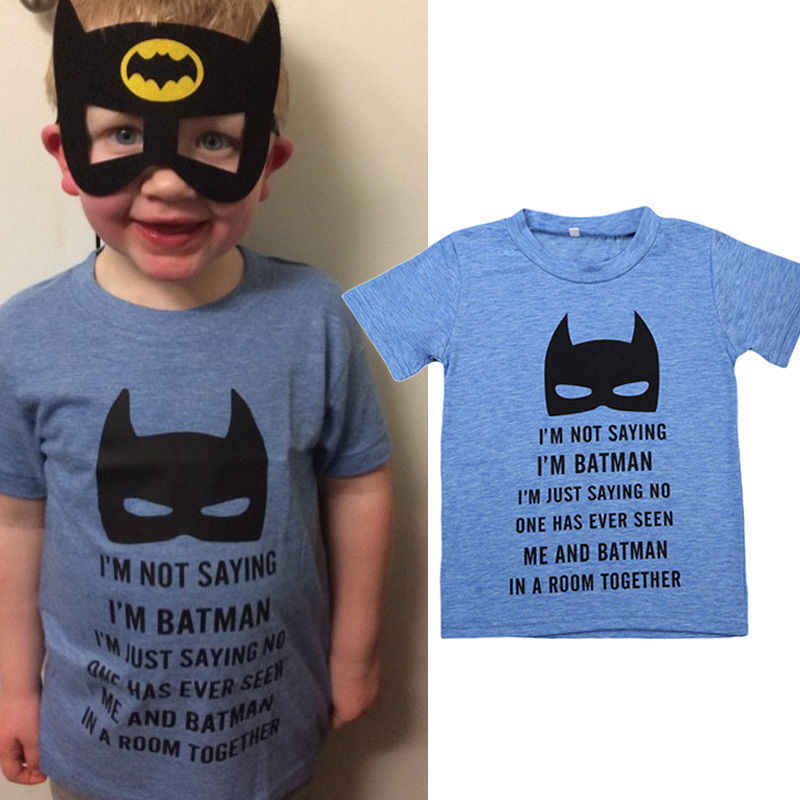 d53f2cee5 ... 2018 Fashion Blue Batman Toddler Baby Boys Kids Cotton Summer T-shirt  Tops Casual Short ...