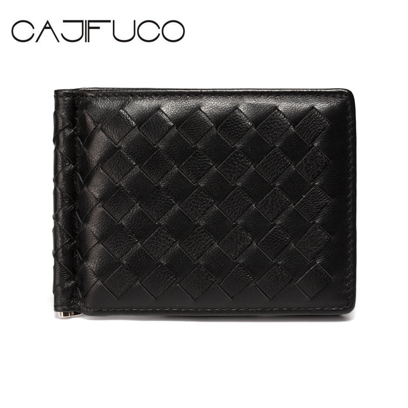 CAJIFUCO Classics Men Wallets Credit Card Case Knitting Money Clip Genuine Leather Woven Card Wallet Men Carteira Porte Carte 2017 new top brand pu thin business id credit card holder wallets pocket case bank credit card package case card box porte carte