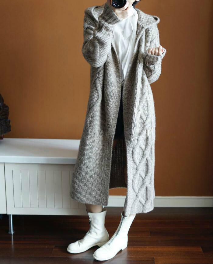Woman Cashmere Cardigan And Hoodie Autumn And Winter  2019 New Casual   Knitted  Long Cardigan  With A Hood Female Coat