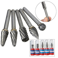 5pcs 1 4 6mm Tungsten Carbide Burr Rotary Cutter Files Set For CNC Engraving Tool