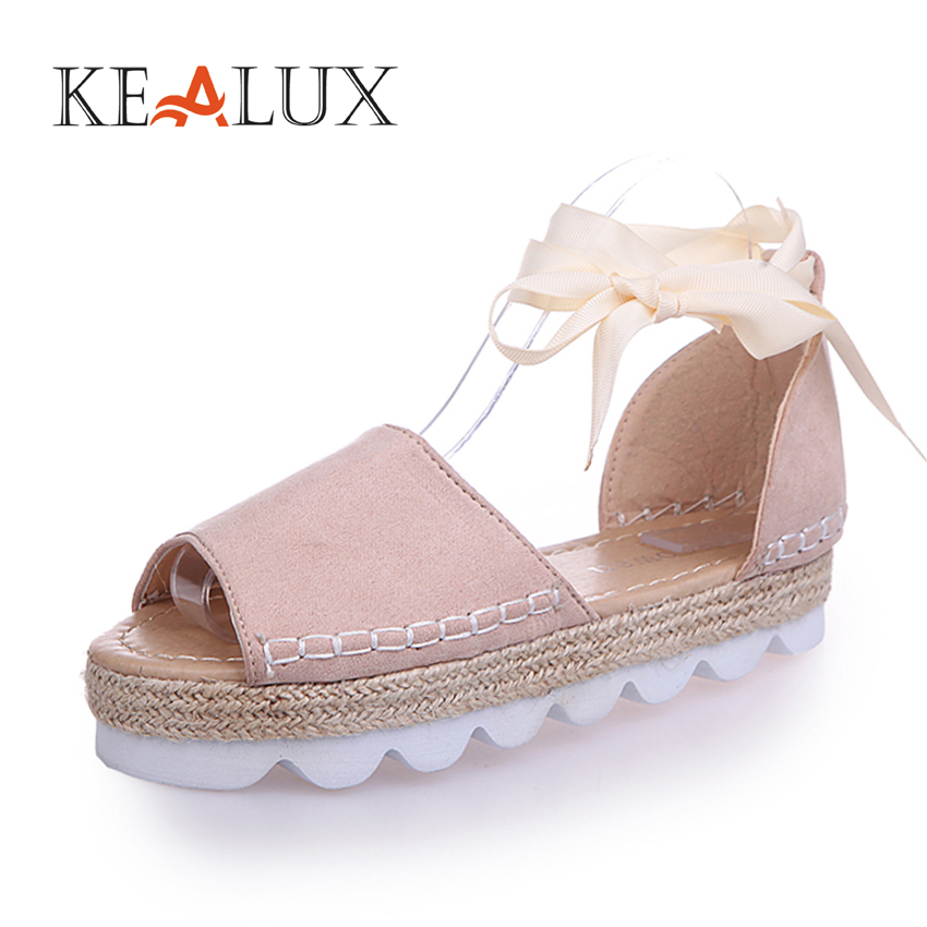 KEALUX Women Big Size44 New Arrival Summer Casual PU Lace-Up Sandals Fashion Ankle Strap Platform Wedges Solid Female Shoes new women sandals low heel wedges summer casual single shoes woman sandal fashion soft sandals free shipping