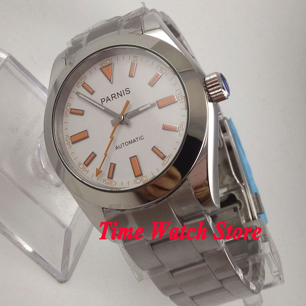 Parnis 40mm white dial flash hand sapphire glass MIYOTA Automatic mens watch 201 40mm parnis white dial sapphire glass 21 jewel miyota automatic mens watch