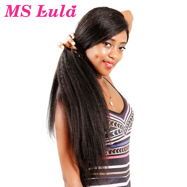 MS Lula Kinky Straight Lace Front Wig Human Hair Wig For Black Pre Plucked With Baby Hair 13x4 Brazilian Hair Remy Natural Color