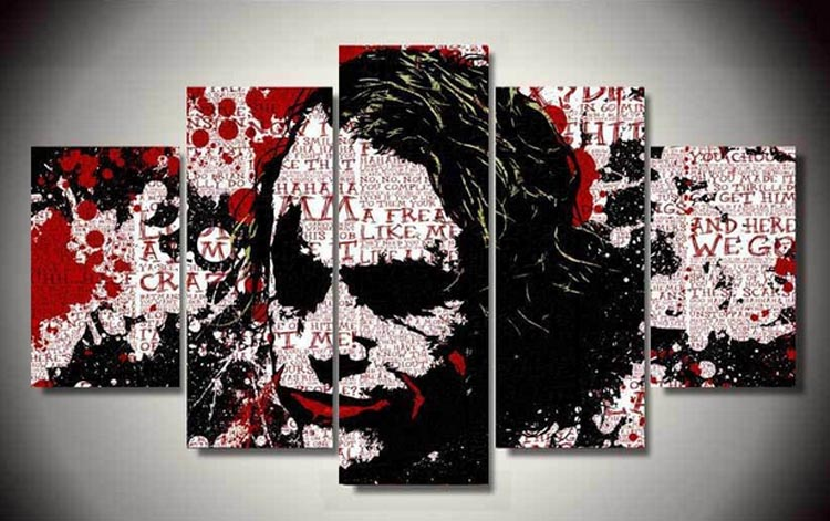 Framed Hot Sell 5panel Halloween poster face HD Decorative Art Print Painting On Canvas For sitting Room Wall Paintings Pictures