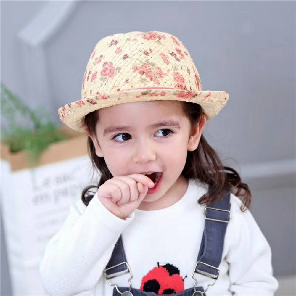 Summer Girls Hats Baby Cotton Cap Kids Outdoor Hats Floral Pink Rose Red Bow Girl Beanie Baby Girl Wearing Accessories