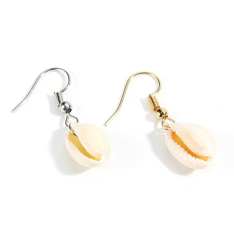 חדש DIY ים פגז תליון עגילי נשים Brincos בעבודת יד זהב צבע עגילי הצהרת תכשיטי מתנה בוהמי תכשיטים