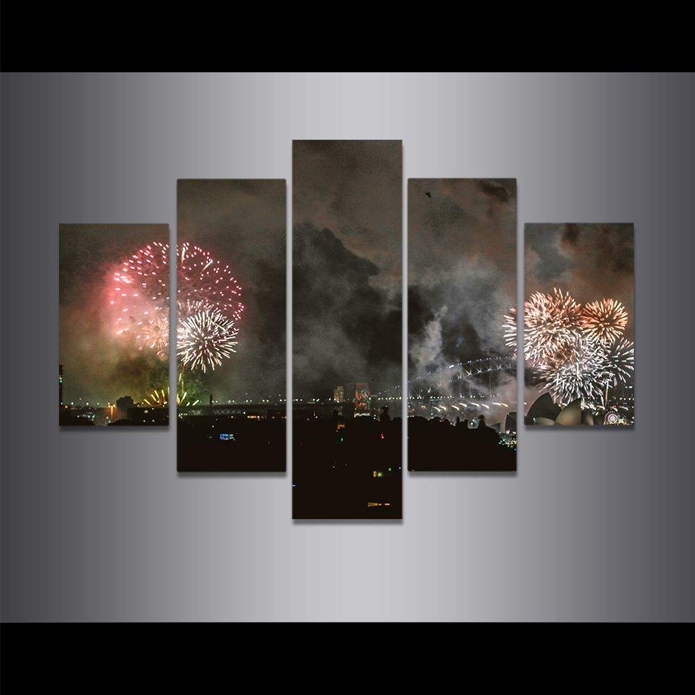 Unframed Canvas Painting Sydney Opera House Night View Fireworks Picture Prints Wall Picture For Living Room Wall Art Decoration
