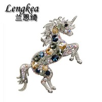 Lengkea jewelry personality brooches Delicate crystal UNICORN model female suit brooch pin male brooch charm accessories gifts