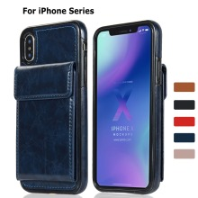 Leather Filp Case for iPhone X XS MAX XR Magnetic Wallet Cover 6 7 8 Plus Phone with 4 Card Slot Coque