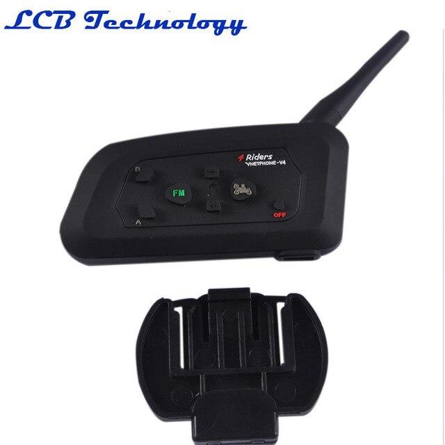 V4 1200 M Casco de La Motocicleta Bluetooth Headset/Intercom Soporte 4 Jinetes Hablar al Mismo Tiempo 2 PC/LOT