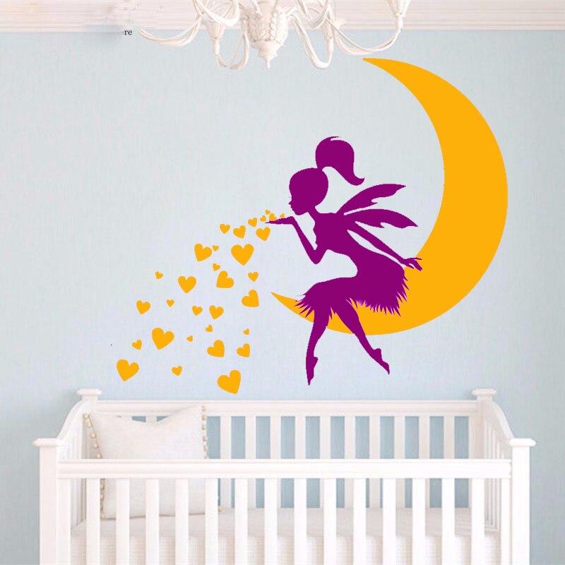 € 10.35 25% de réduction|G909 fée étoile lune vinyle Stickers muraux  princesse fille chambre pour enfants chambre bébé pépinière mur Art Mural  ...