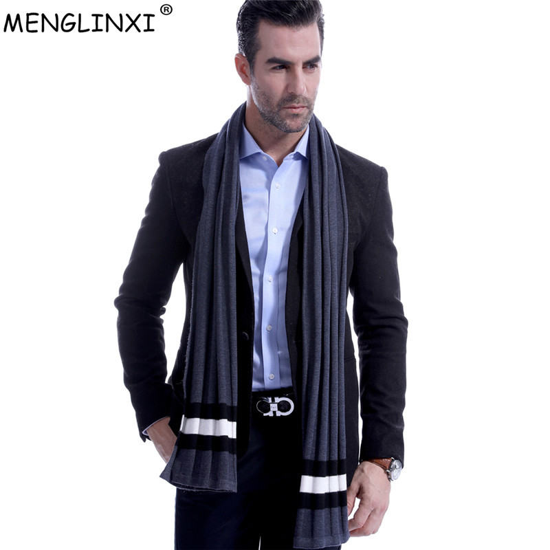 Cashmere Scarf Men Winter 2020 New Striped Scarf Fashion Brand Scarf Best Christmas Gift Man Casual Business Wool Scarves Warps
