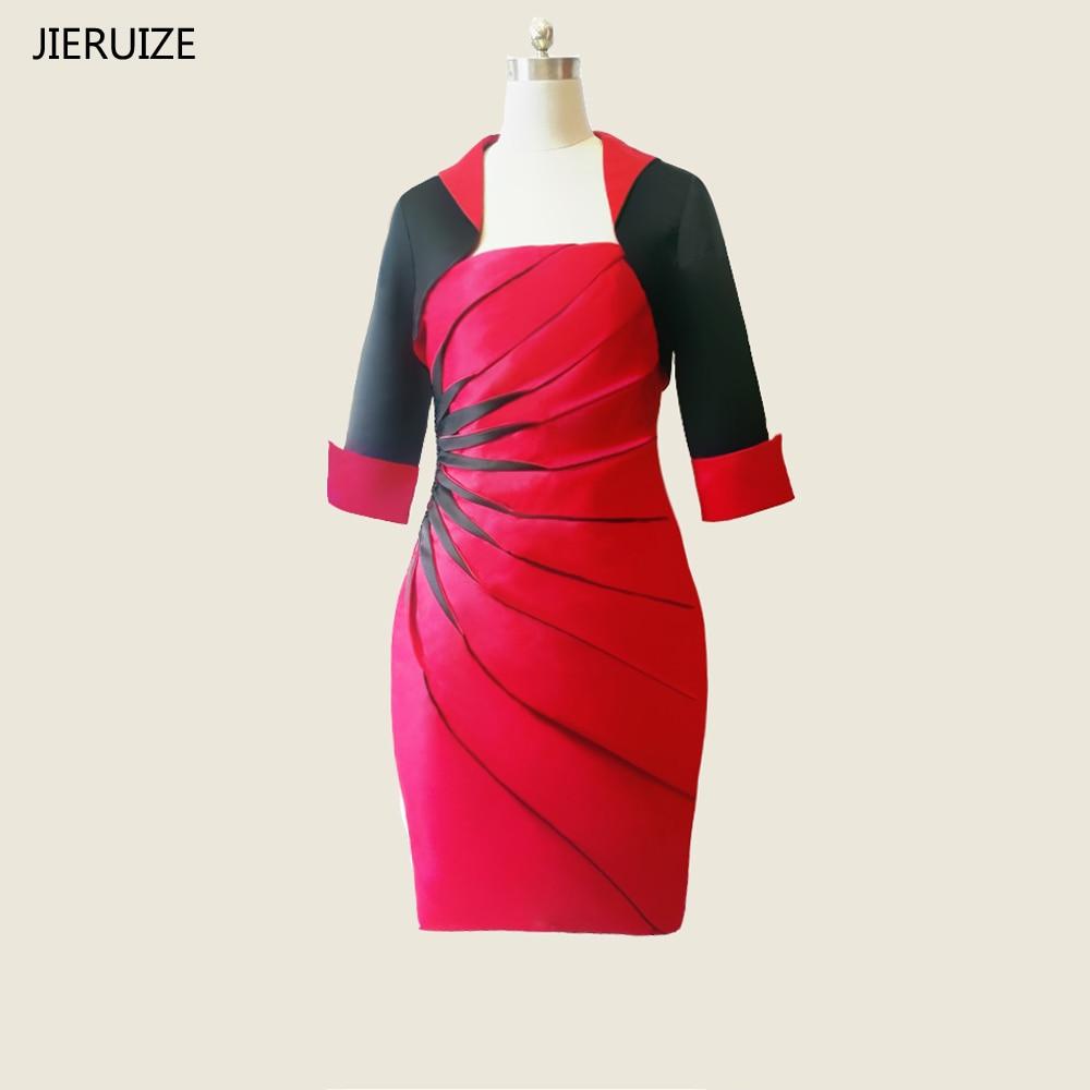JIERUIZE rouge noir genou longueur mère de la mariée robes avec veste courte soirée robes de grande taille robes formelles