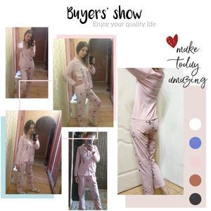 Image 5 - Conjuntos de pijamas primavera outono rosa dos desenhos animados raposa mulher manga longa pijamas terno casa presente feminino pijamas mujer femme