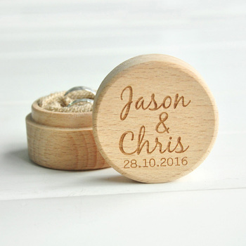 Personalized Rustic Wedding Wood Box Holder Custom Your Names and Date Wedding Ring Bearer Box 1
