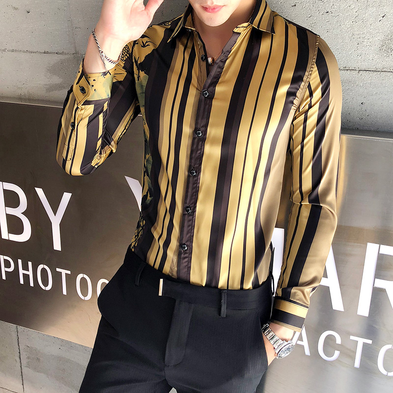 Slim Mens Tuxedo Shirts Black Floral Striped Chemise Homme Long Sleeve Shirts Camisa Social Masculina 3XL Casual Blouse Men 2018 in Casual Shirts from Men 39 s Clothing