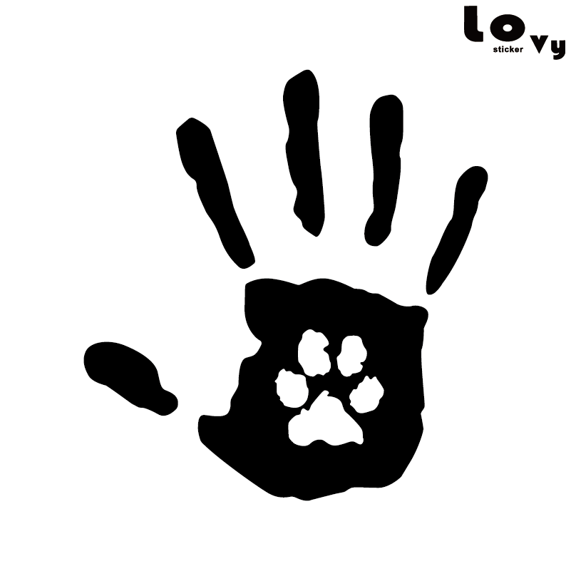 Creative Hand Print With Claw Print Dog Cat Pet Rescue Vinyl Car Sticker/Decal
