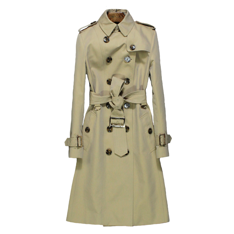 2019 New Autumn England Style Long   Trench   coat women Classic Turn-down Collar Double Breasted High quality Womens windbreakers