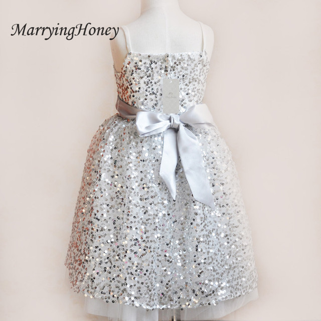 2017 silver sequins flower girls dresses for weddings ruffles 2017 silver sequins flower girls dresses for weddings ruffles pageant dresses for girls spaghetti straps bow mightylinksfo