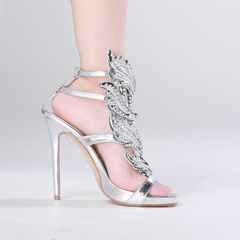 Qianruiti Silver Gold Studded Crystal High Heels Sandals Ankle Buckle Strap  Women Pumps Rome Style Thin Heels Women Shoes-in Women s Pumps from Shoes  on ... 3197efe0f0e4