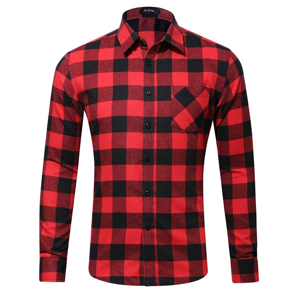 MUQGEW 2019 Fashion Plaid Shirt Slim Fit Mens Casual Fashion Long Sleeved Shirt Single Pocket Little Plaid Printing Shirt#G4