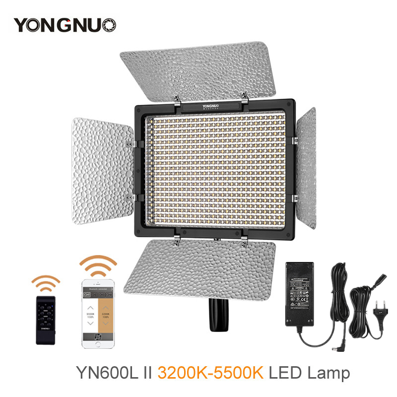 Yongnuo <font><b>YN600L</b></font> <font><b>II</b></font> 3200K-5500K LED Video Light with AC Adapter Set Support Remote Control by Phone App for Interview image