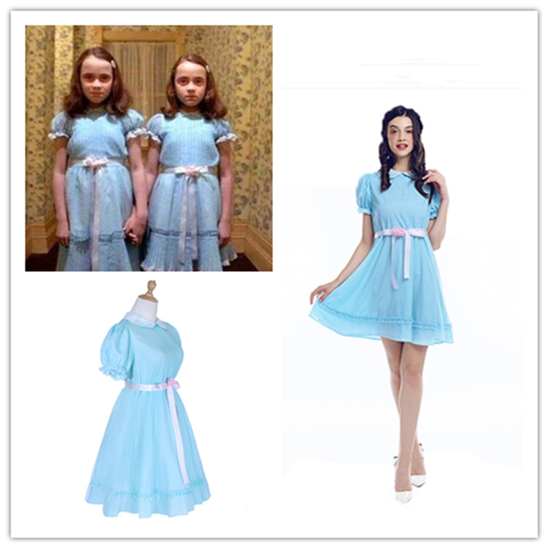 Adult Kids The Shining Grady Twin Lisa and Louise Girl Party Lolita Dress Cosplay Costume for Woman girls Halloween Purim party