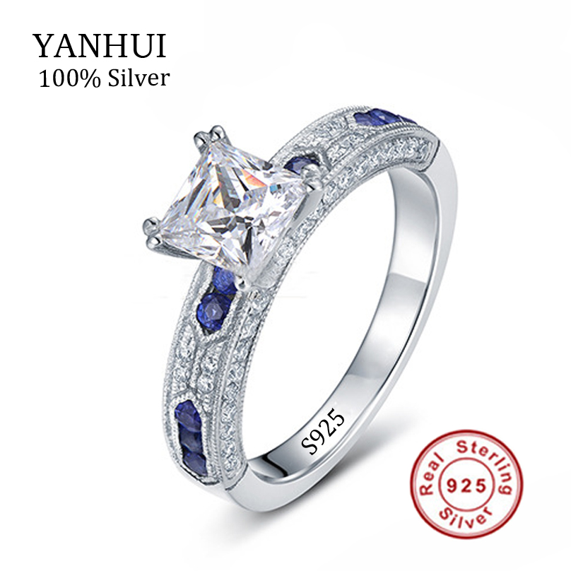 YANHUI Luxury 925 Solid Silver Top Sona Diamant Anniversary Wedding Rings For Women Fine Jewelry Blue