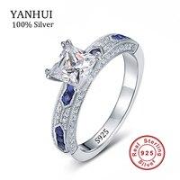 Yanhui lusso 925 in argento massiccio top sona diamant anniversario anelli di cerimonia nuziale per le donne gioielleria raffinata blu cz anello di fidanzamento jzr129