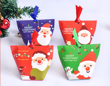12pcs/lot merry Christmas Gift Box Festive, Party Supplies Holders party chocolate box decor with ribbon 12x10CM