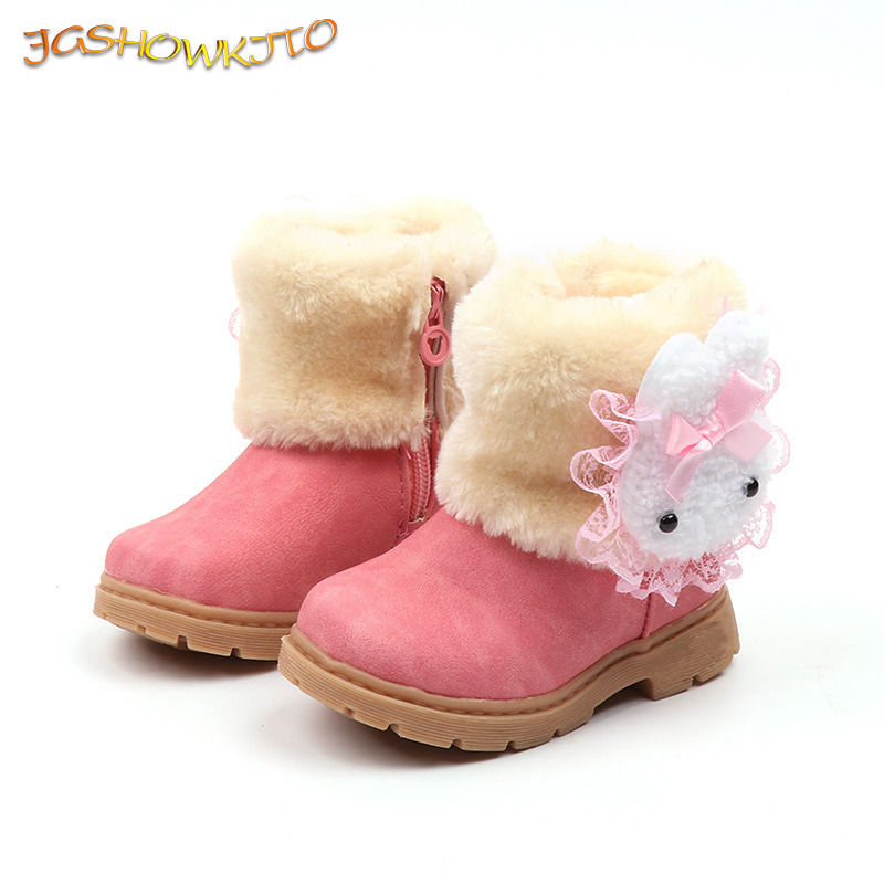2019 Winter Girls Boots Warm Cotton With Cartoon Rabbit Lace Kids Boots Fashion Snow Boots Children Kids Shoes For Toddler Girl