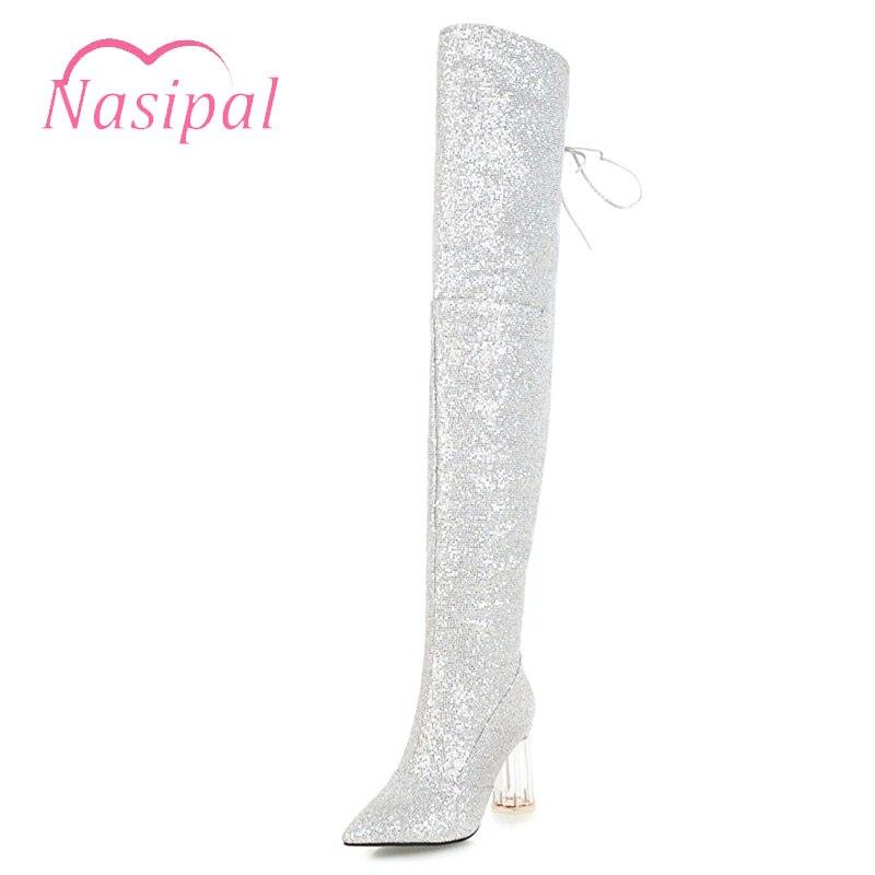858835e84 Mejor Nasipal marca zapatos mujer Sexy tacones altos muslo botas largas  trasera ATA para arriba sobre la rodilla alta botas de oro plata Negro  Calzado ...