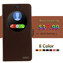 "Genuine Natural Cow cowhide Leather Case Smart View Window For ASUS Zenfone 2 5.5"" ZE551ML  Magnetic Phone Cover+Small Gifts"