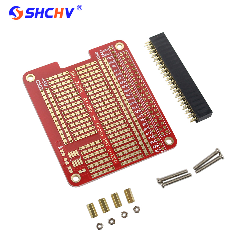 DIY Proto HAT Shield Extension Board for Raspberry Pi 3 and Raspberry Pi 2 Model B / B+ Red RPI GPIO Board for Arduino stud prototype expansion board red green black proto screw shield assembled