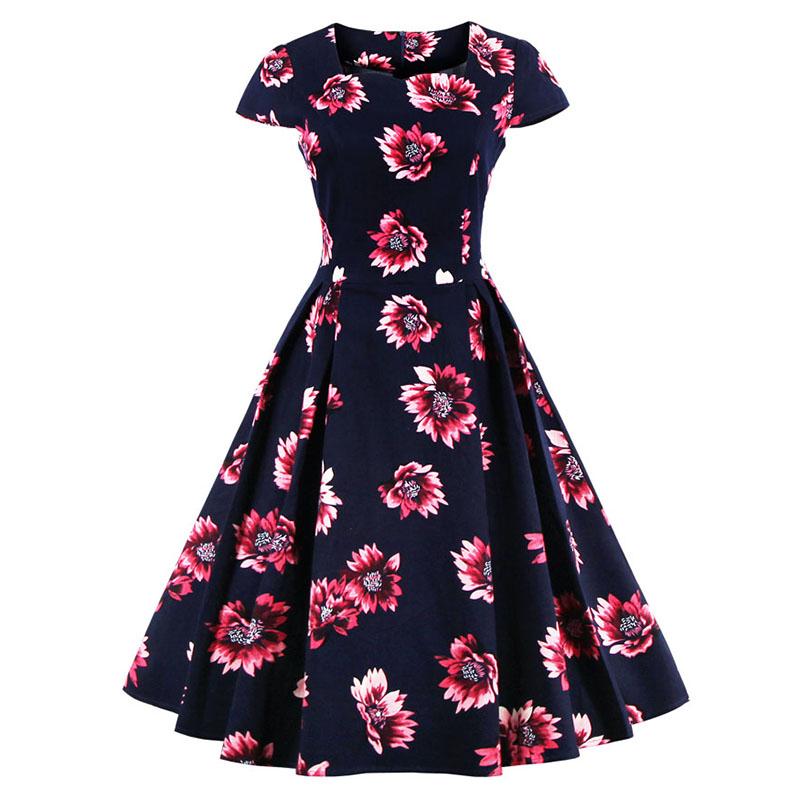 Kostlish Brand 2017 New Summer Dress Women Short Sleeve Slim 50s 60s Vintage Dress Elegant Print Swing Rockabilly Party Dresses (8)