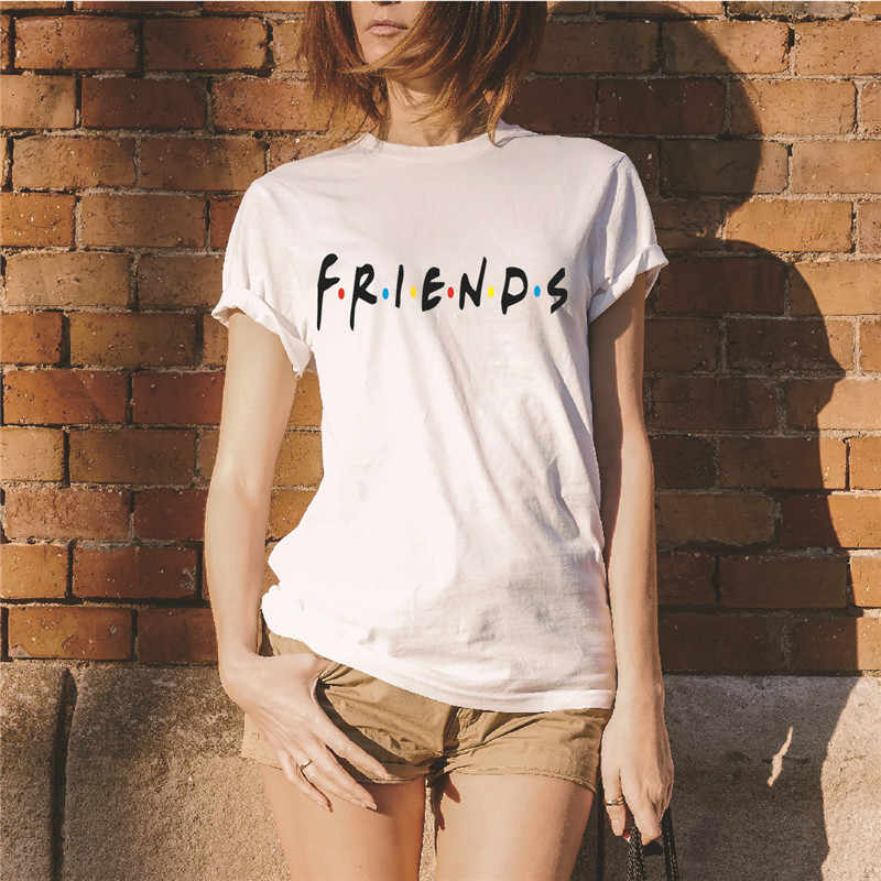 Showtly   Fashion cool FRIENDS letter women's t shirt casual  comfortable super soft  o neck tee tops