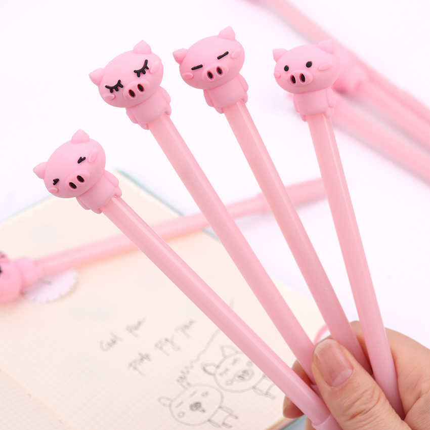 1PC śliczne losowe czarny tusz długopisy żelowe zwierzęta różowy świnia pióra kulkowe biurowe biuro szkolne