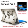 2017 Hot Sale For Surface Pro 4 Tablet Vinyl Decal Netbook Worldmap Skin Sticker+Explosion-proof Tempered Glass Screen Protector