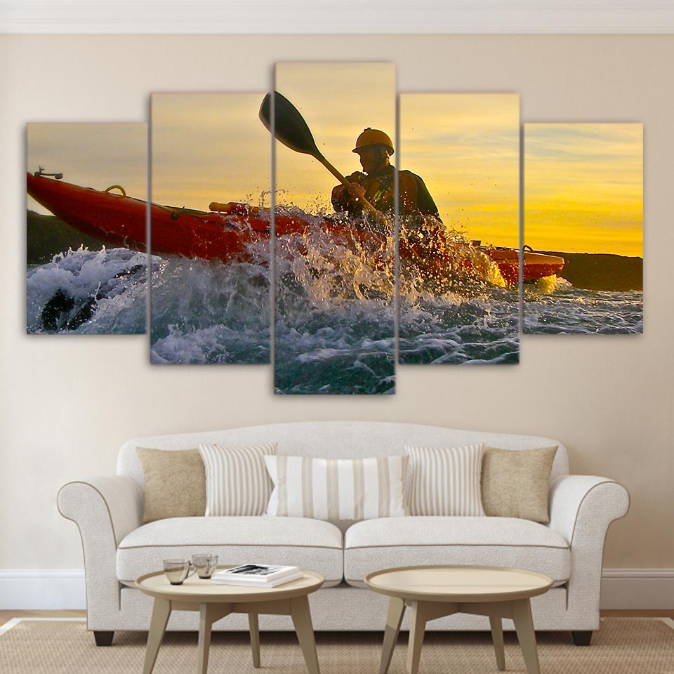 Home Decor Living Room Modular Pictures 5 Panel Canoeing Sports Water Spray Framed Wall Art Painting HD Printed Canvas Poster
