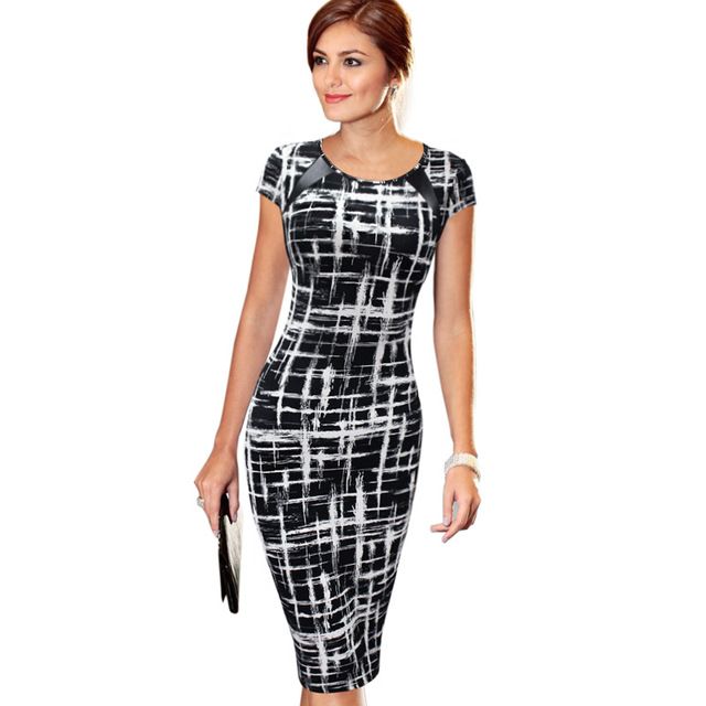 Vfemage женская весна лето печатных синтетическая кожа носить на работу офис бизнес повседневная карандаш dress vestidos 1755