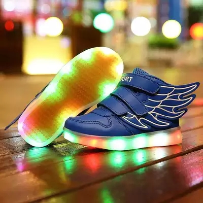 Hot Selling New 2016 Fashion Wings Children Sneakers gold Black Kids Light Shoes High Top Boys girls boots luminous Led Shoes