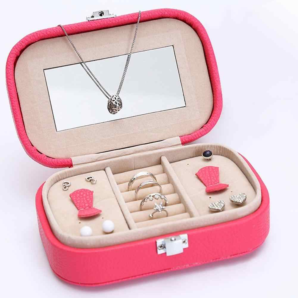 Estuche De Viaje organizador de almacenamiento de pendientes de joyería anillo de exhibición portátil con espejo adecuado para decoración de escritorio de viaje regalo de joyería