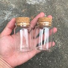בקבוקי זכוכית 80 ml עם פקק מיכל מזון ברור מיני שקוף קטן ריק בקבוקי זכוכית צנצנות 12 יח\חבילה Botlles ידידותית לסביבה